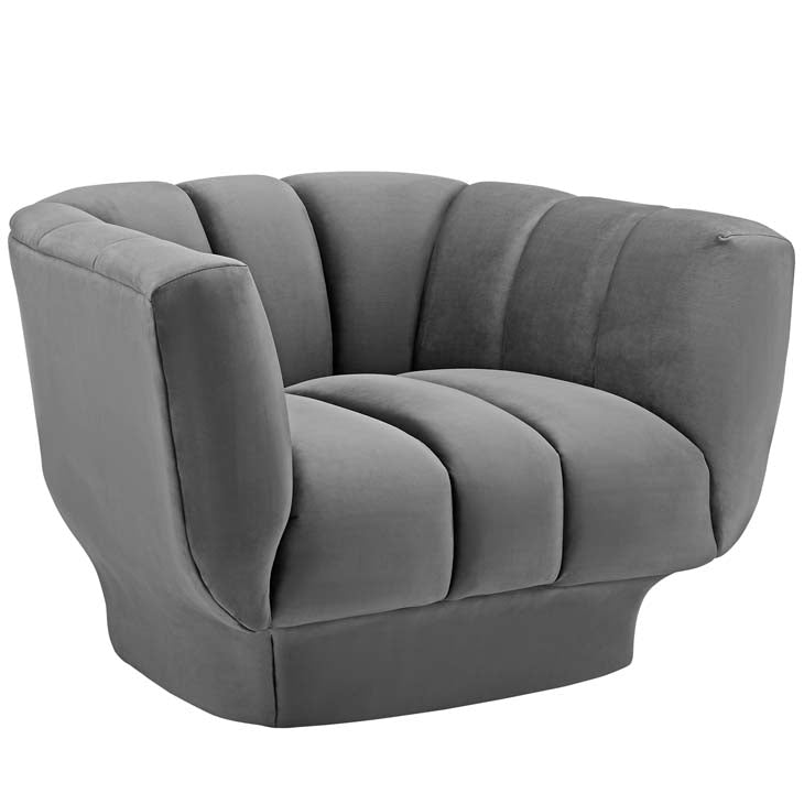 Amuse Vertical Channel Tufted Performance Velvet Armchair - living-essentials