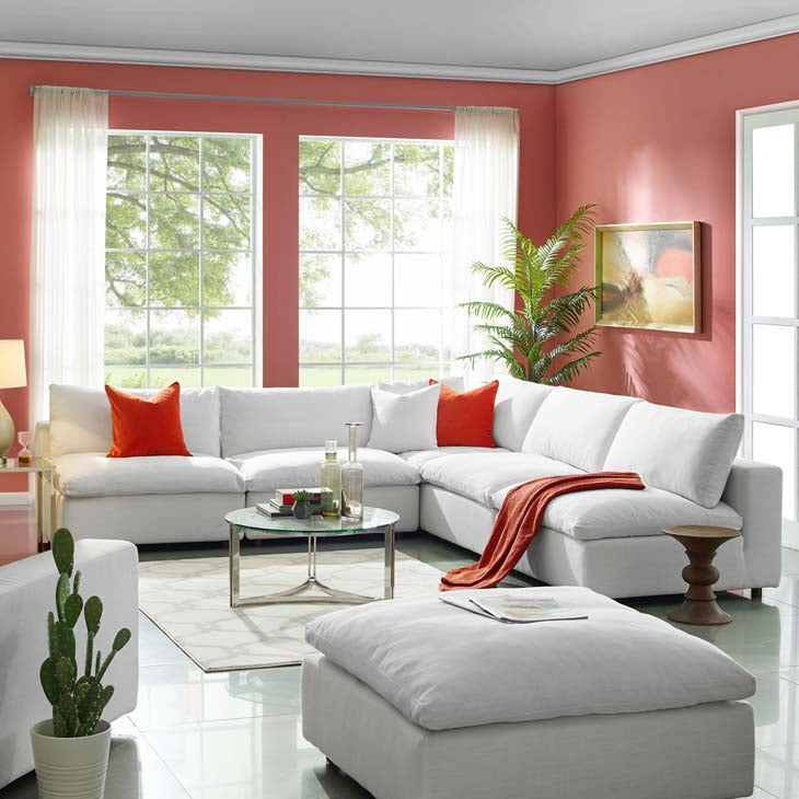 Common Down Filled Overstuffed 5 Piece Sectional Sofa