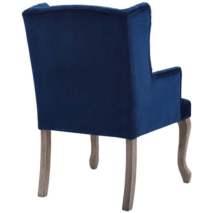 Realm French Vintage Dining Performance Velvet Armchair - living-essentials