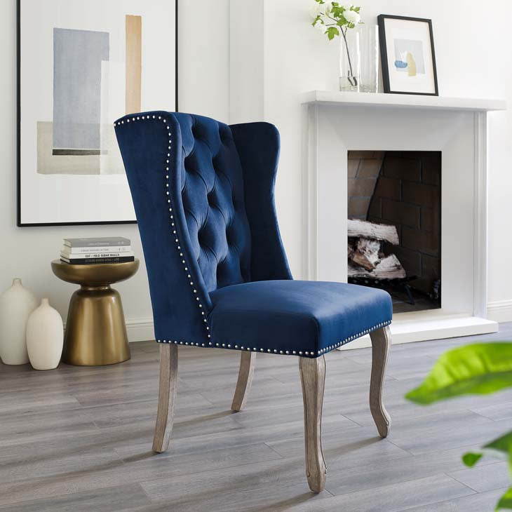 Apprise French Vintage Dining Performance Velvet Side Chair - living-essentials