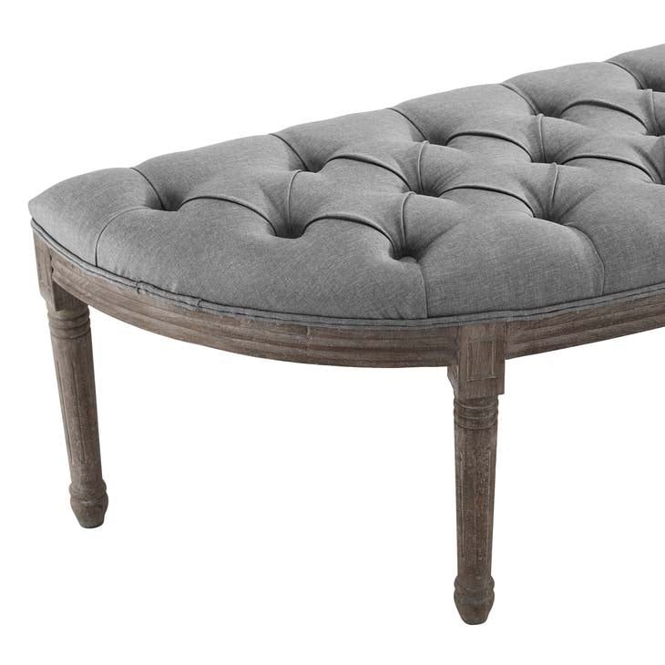 Esteem Vintage French Upholstered Fabric Semi-Circle Bench - living-essentials