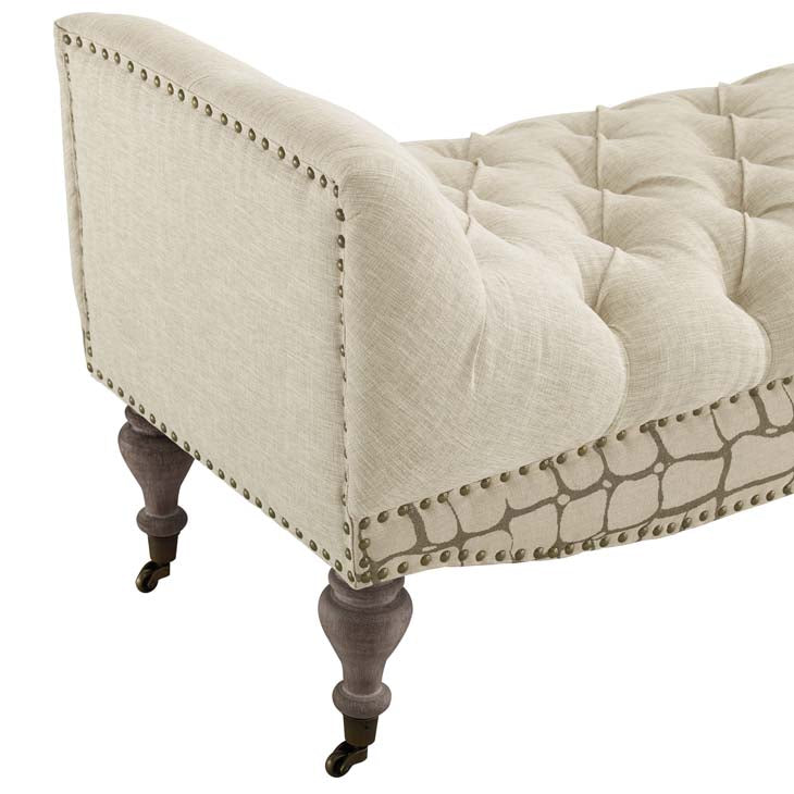 Regina Vintage French Upholstered Fabric Bench - living-essentials