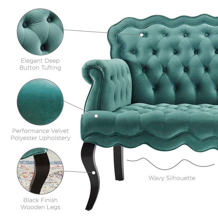Violin Chesterfield Button Tufted Loveseat Performance Velvet Settee - living-essentials