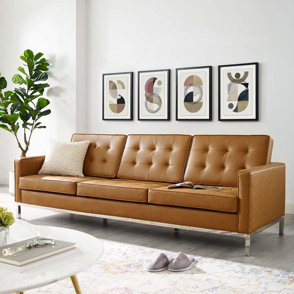 Knoll Tufted Button Artificial Leather Sofa - living-essentials