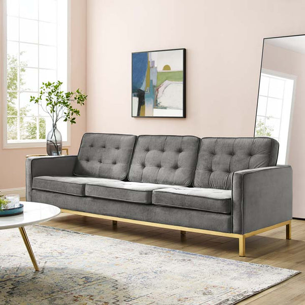 Knoll Gold Stainless Steel Velvet Sofa - living-essentials