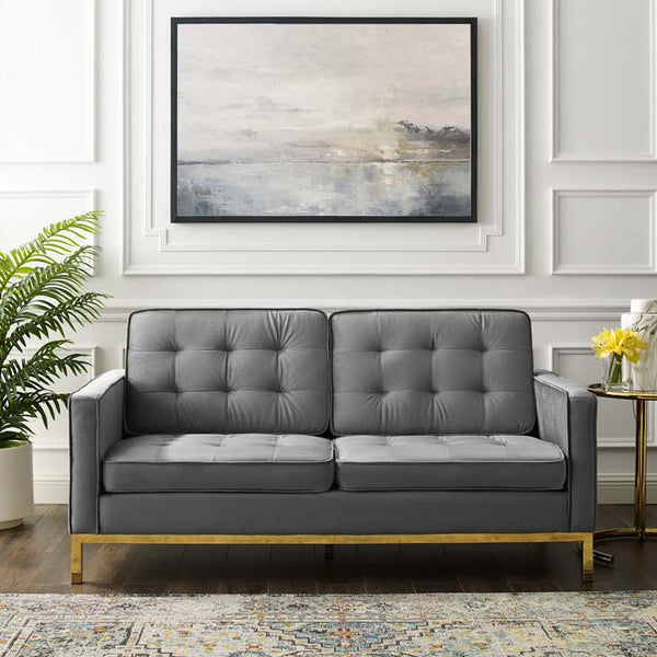 Knoll Style Gold Trim Velvet Loveseat - living-essentials
