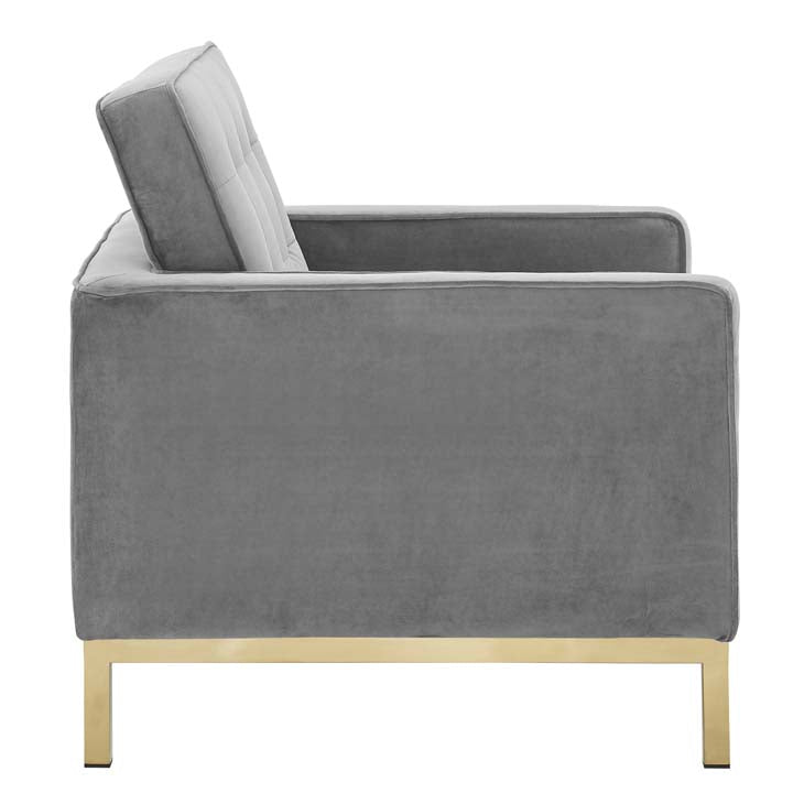 Knoll Style Gold Trim Velvet Armchair - living-essentials