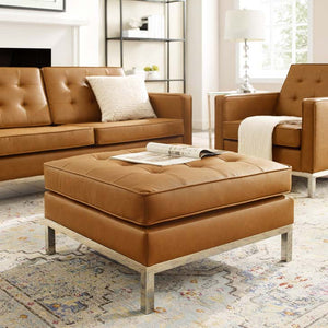 Knoll Style Tufted Leather Ottoman in Tan