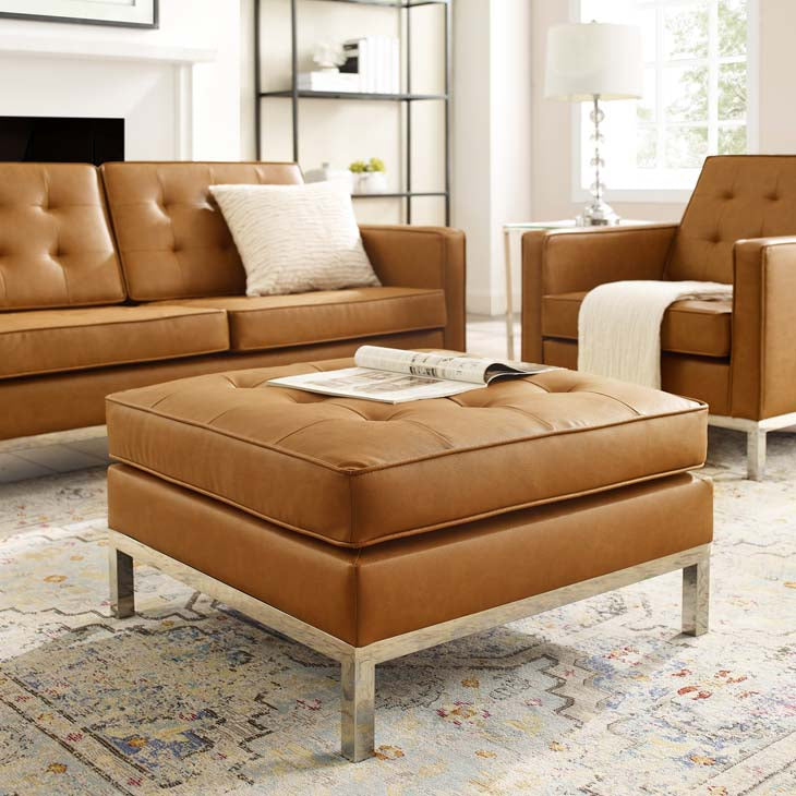 Knoll Style Tufted Leather Ottoman in Tan - living-essentials