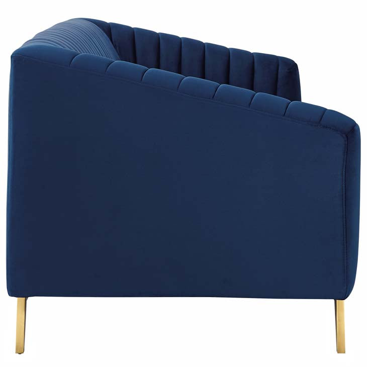 Valiente Vertical Channel Tufted Performance Velvet Loveseat - living-essentials