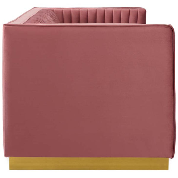 Sanguine Vertical Channel Tufted Performance Velvet Sofa - living-essentials