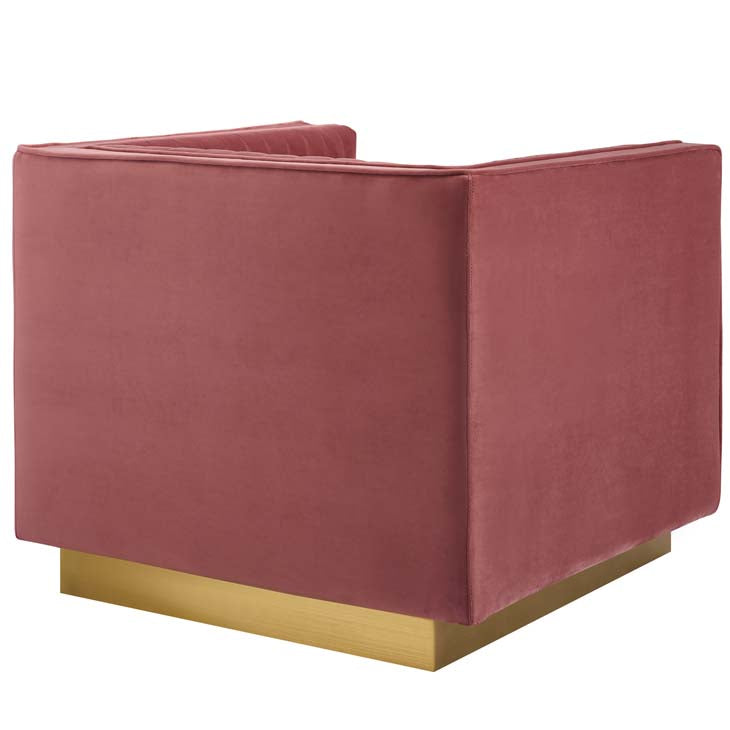 Sanguine Vertical Channel Tufted Accent Performance Velvet Armchair - living-essentials