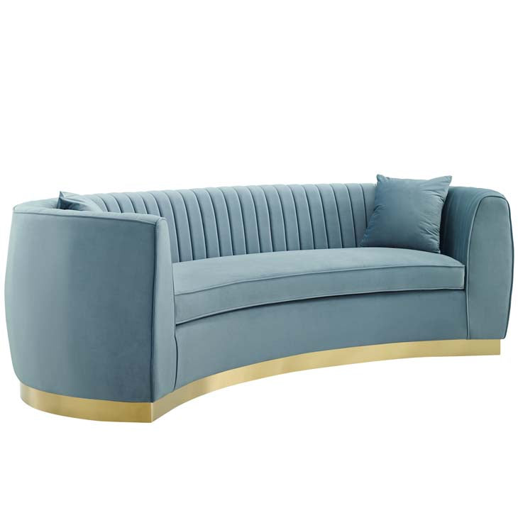 Ebullient Vertical Channel Tufted Curved Performance Velvet Sofa - living-essentials