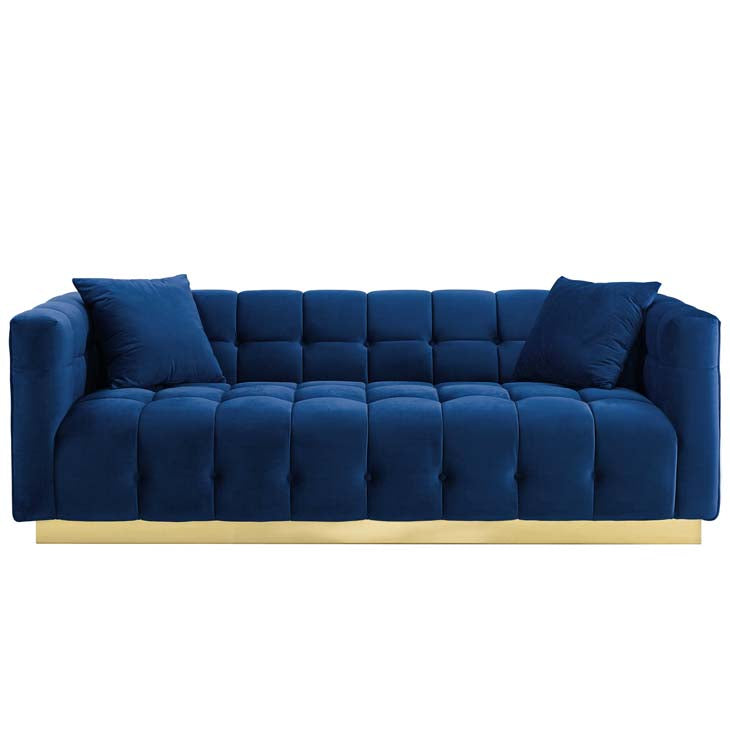 Vigorous Biscuit Tufted Performance Velvet Sofa - living-essentials