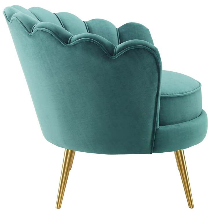 Applaud Scalloped Edge Performance Velvet Accent Armchair - living-essentials