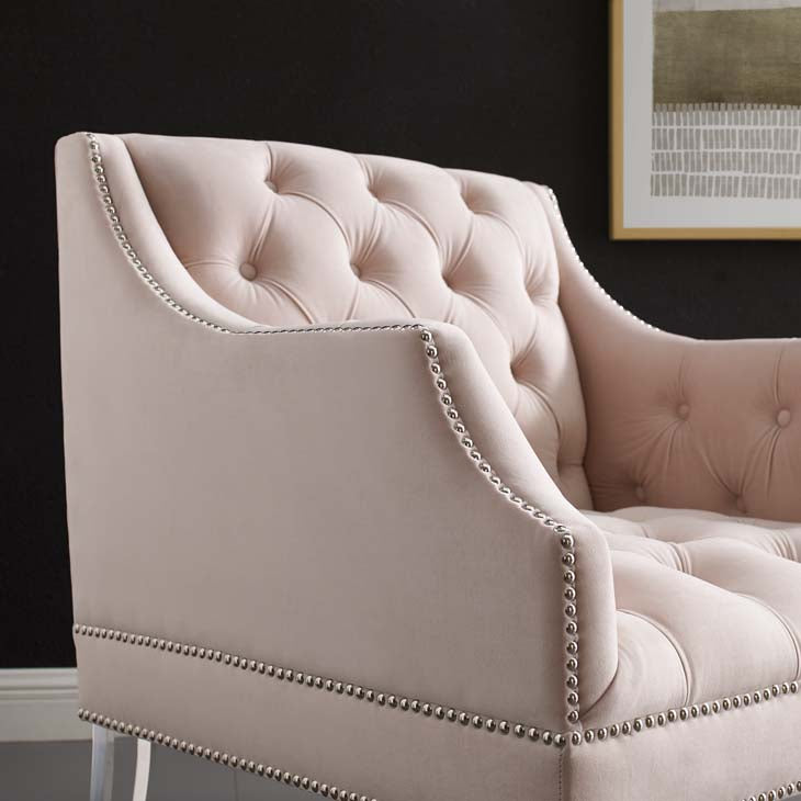Renowned Tufted Button Accent Performance Velvet Armchair - living-essentials