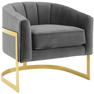 Acclaim Vertical Channel Tufted Performance Velvet Accent Armchair