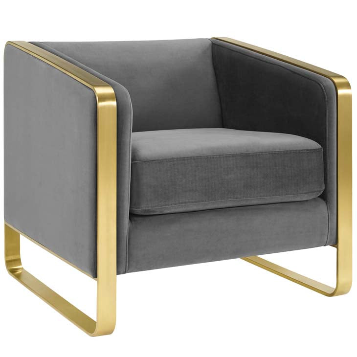 Envision Accent Club Lounge Performance Velvet Armchair - living-essentials