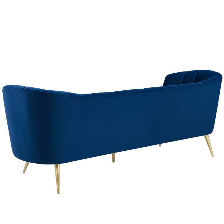 Lucky Chance Vertical Tufted Curved Velvet Sofa - living-essentials