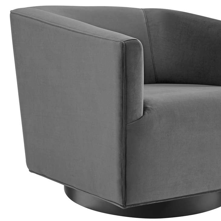Twiddle Accent Lounge Performance Velvet Swivel Chair - living-essentials