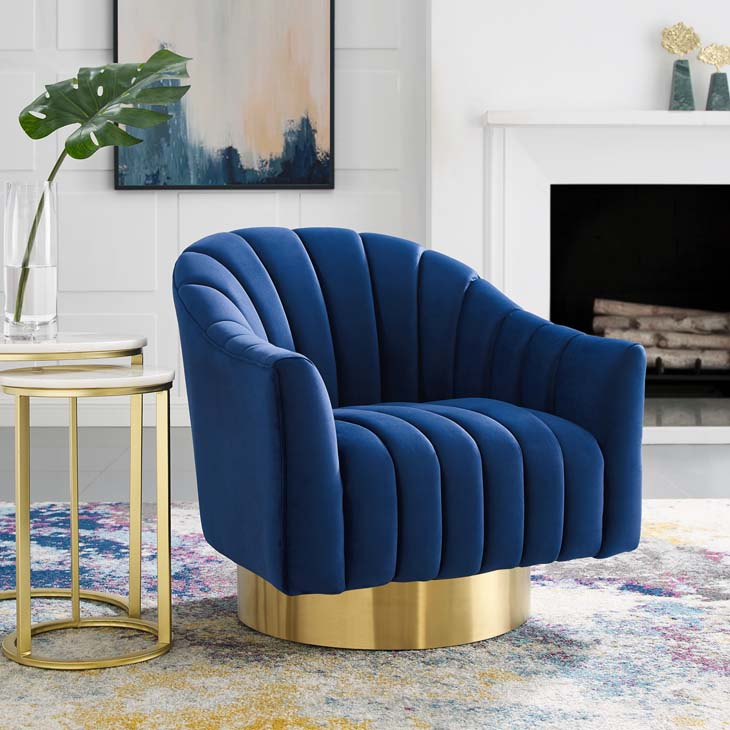 Blithe Vertical Channel Tufted Accent Lounge Performance Velvet Swivel Chair - living-essentials