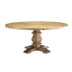 "Vertical 71"" Round Pine Wood Dining Table - living-essentials"