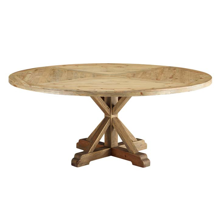 "Sew 71"" Round Pine Wood Dining Table - living-essentials"