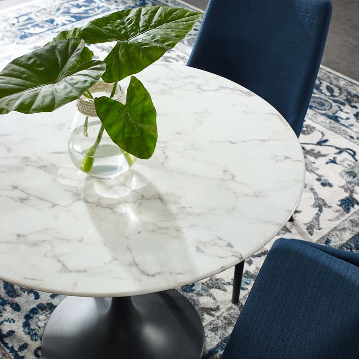 "Tulip 36"" Round Artificial Marble Dining Table - living-essentials"