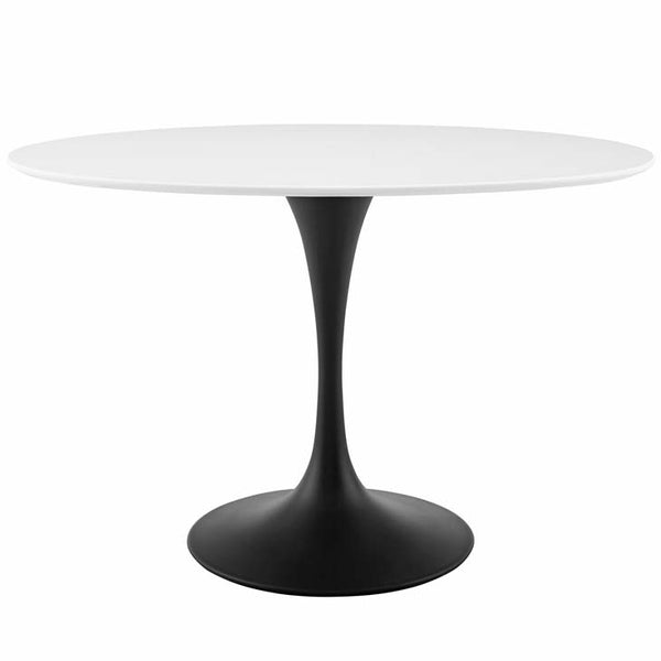 "Tulip Style 48"" Oval Wood Top Dining Table in Black White - living-essentials"