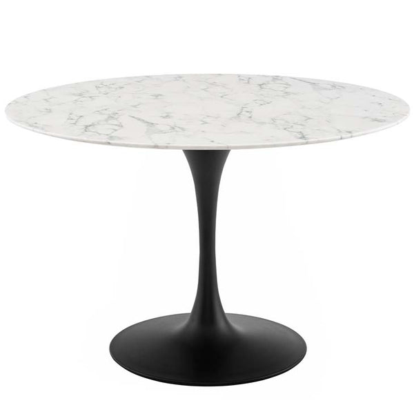 "Tulip Style 47"" Artificial Marble Black Base Dining Table - living-essentials"