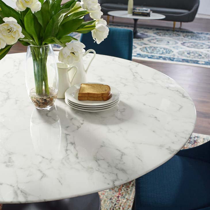 "Tulip 60"" Round Artificial Marble Dining Table - living-essentials"