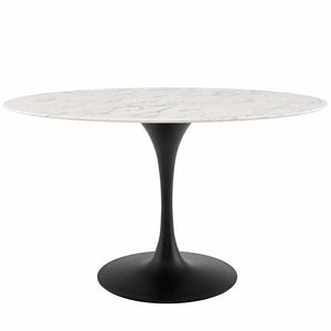 "Tulip 54"" Oval Artificial Marble Dining Table"