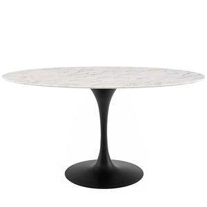"Tulip 60"" Oval Artificial Marble Dining Table - living-essentials"