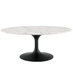 "Tulip 42"" Oval-Shaped Artificial Marble Coffee Table"