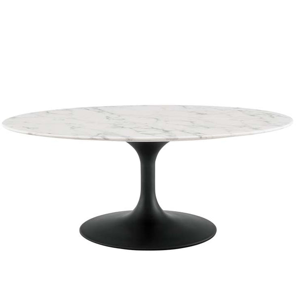 "Tulip 42"" Oval-Shaped Artificial Marble Coffee Table - living-essentials"