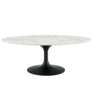"Tulip 48"" Oval-Shaped Artificial Marble Coffee Table"