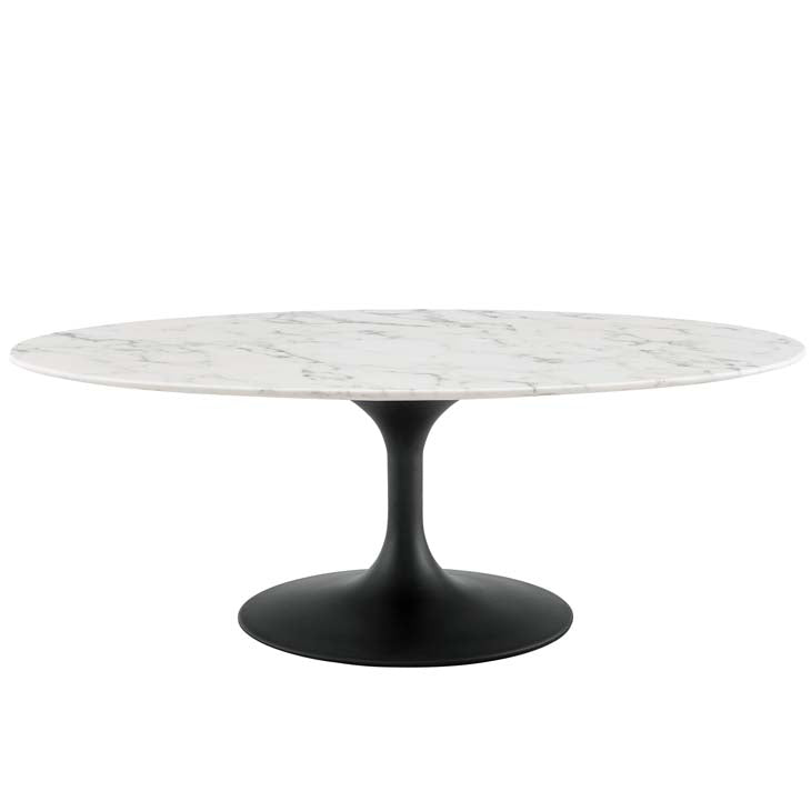 "Tulip 48"" Oval-Shaped Artificial Marble Coffee Table - living-essentials"