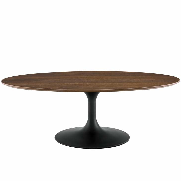 "Tulip 48"" Oval-Shaped Walnut Coffee Table - living-essentials"