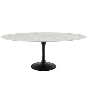 "Tulip 78"" Oval Artificial Marble Dining Table"