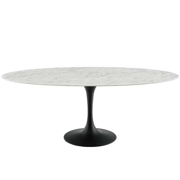 "Tulip 78"" Oval Artificial Marble Dining Table - living-essentials"