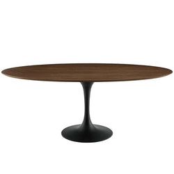 "Tulip 78"" Oval Wood Dining Table in Black Walnut - living-essentials"