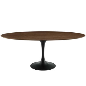 "Tulip 78"" Oval Wood Dining Table in Black Walnut"