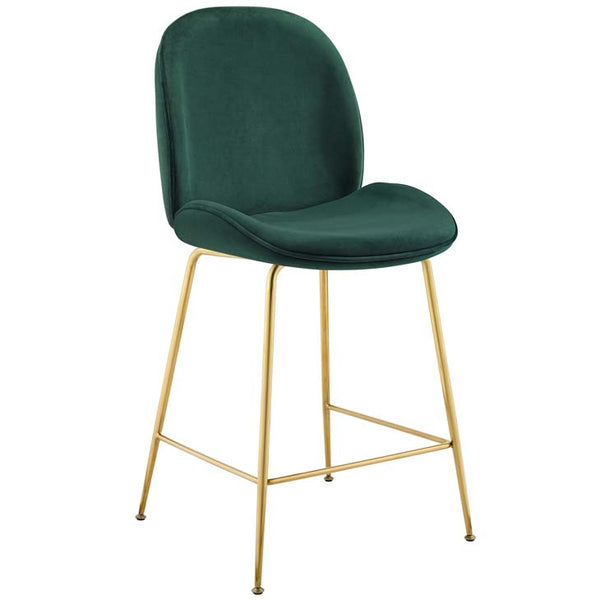 Excavate Gold Stainless Steel Leg Performance Velvet Counter Stool - living-essentials