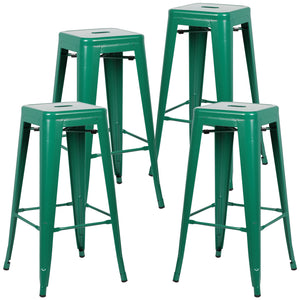 Tolix Style Barstool Set Of 4 Gray Bar Stools Free Shipping