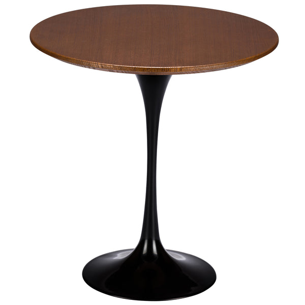 "Tulip Style Black Base 20"" Walnut Side Table - living-essentials"