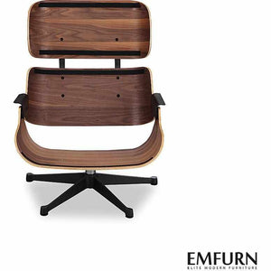 Emfurn Lounge Chair & Ottoman Premium Reproduction Black / Top Grain Italian Leather Walnut Chairs Free Shipping