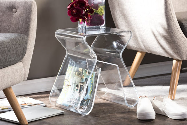 Acrylic End Table With Magazine Rack