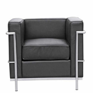 Le Corbusier Style Lc2 Armchair Top Grain Italian Leather / Black Chairs Free Shipping