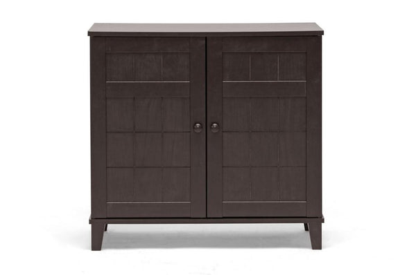 Cynan Dark Brown Wood Modern Shoe Cabinet (Short) - living-essentials