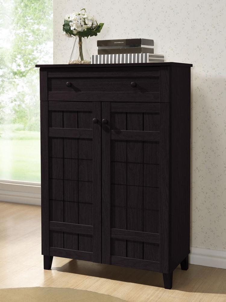 Cynan Dark Brown Wood Modern Shoe Cabinet (Tall) - living-essentials